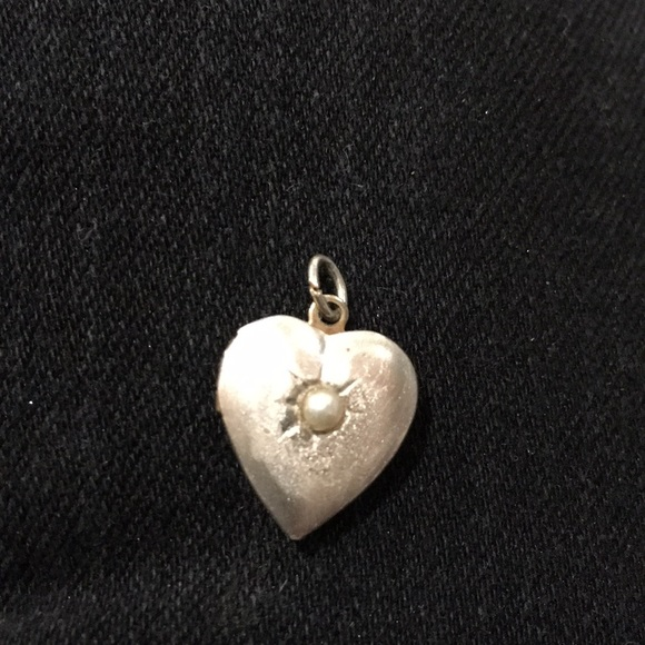 Jewelry - Silver satin work locket with seed pearl vintage